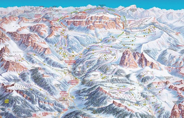 pistemap Skigebied Val Gardena