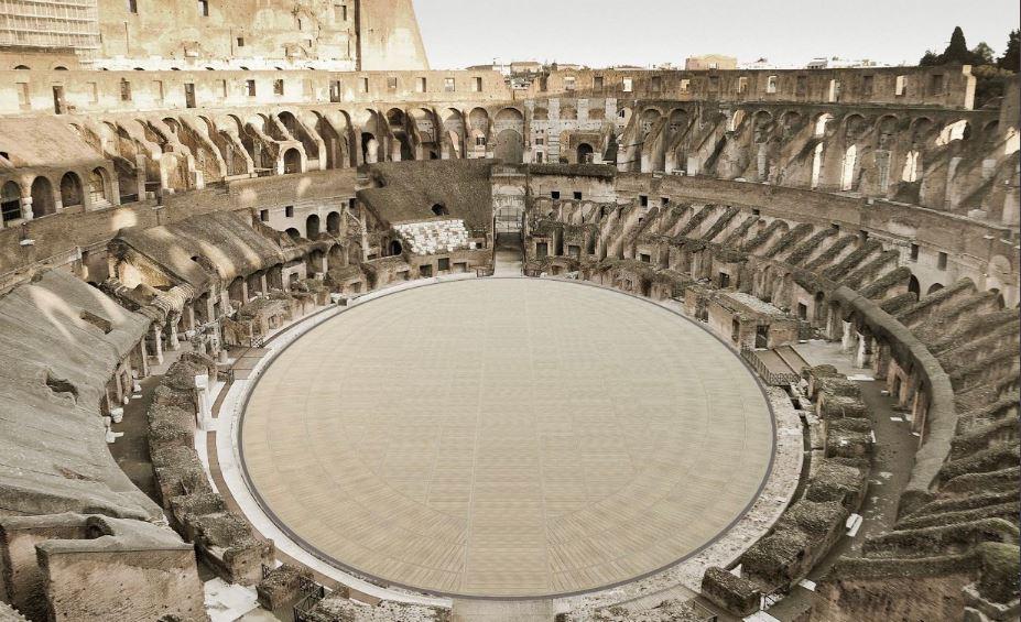 De nieuw te bouwen vloer van het colosseum, gereed in 2023
