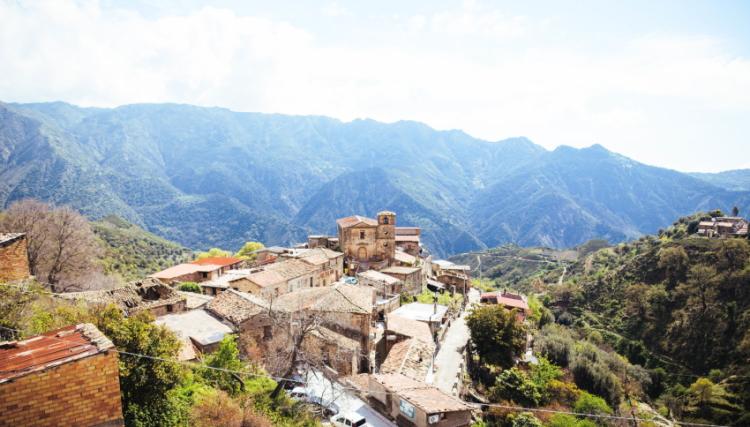 Griekse bergdorpje Gallicianò in Calabrië