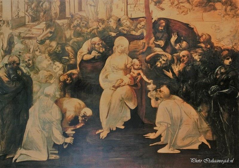 De aanbidding van de koningen door Leonardo da Vinci