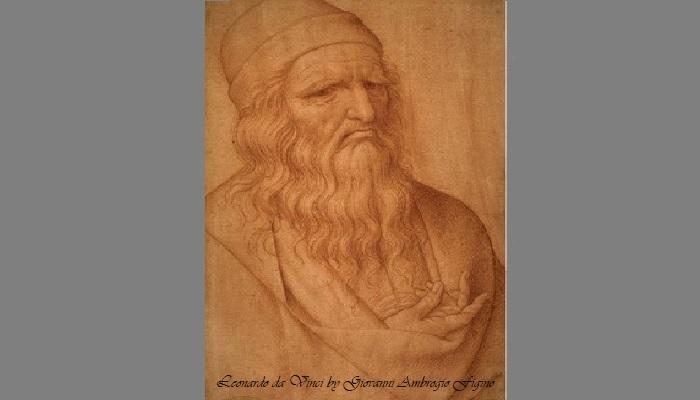krijttekening Leonardo da Vinci door Giovanni Ambrogio Figino te zien in Venetië in het museum Gallerie dell'Accademia