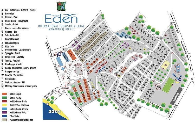 plattegrond camping Eden Gardameer - klik om te vergroten